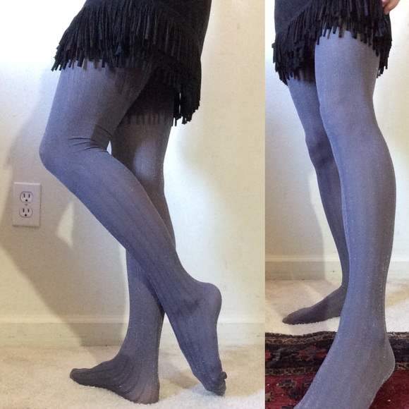 Urban Outfitters Accessories - Grey Stripped Glitter Sparkle Tights Hosiery